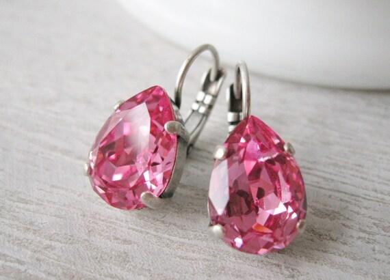 Pink Crystal Teardrop Earrings Spring Bridesmaid Jewelry Swarovski Elements Rose Wedding Jewelry Rhinestone Earrings