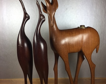 Carved Birds and Gazelle 3pc