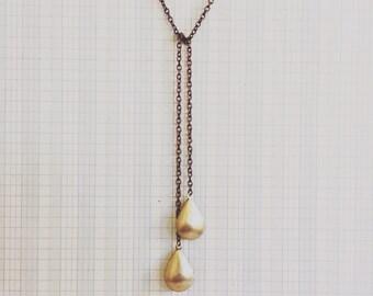 locket necklace | double locket brass lariat teardrop | portland oregon | simple everyday jewelry | brass jewelry | lariat locket necklace
