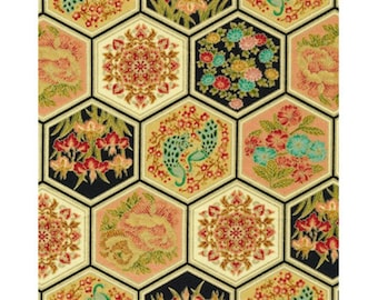 Hexagon patchwork Asian Fanfare fabric