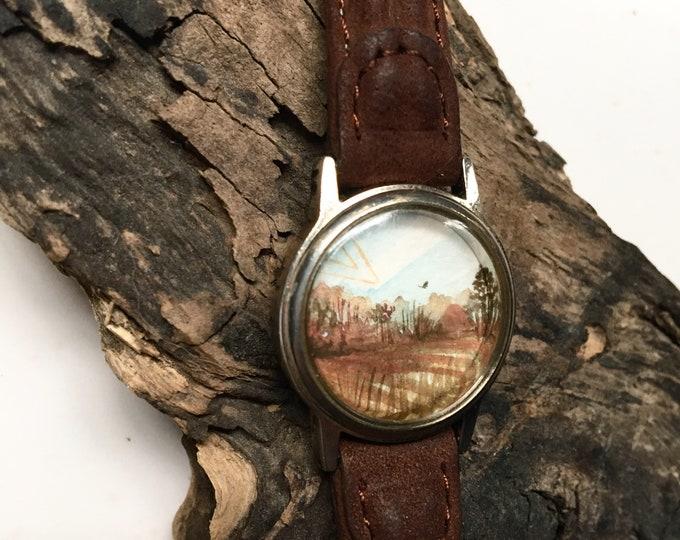 Sette / original tiny painting framed / timeless watch art