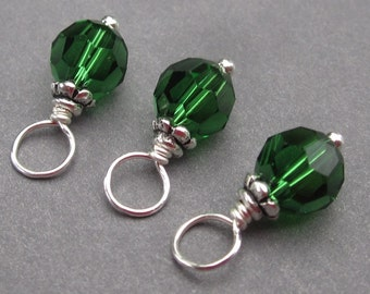 Dark Moss Green Swarovski Crystal Charms, Stitch Markers, Wine Charms,  Bead Dangles, 6mm Swarovski Crystal Beads