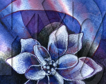 Instant Download - Mixed Media Illustration of Flower on Abstract Blue Background