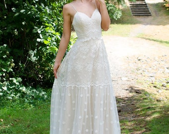 Bohemian wedding dress, lace wedding dress, bridal gown, spaghetti strap wedding dress.