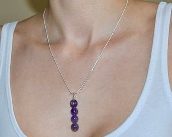 Amethyst necklace / Birth stone February / Star sign Aquarius / Silver necklace / 18 inch necklace / 925 Sterling silver necklace/ Purple