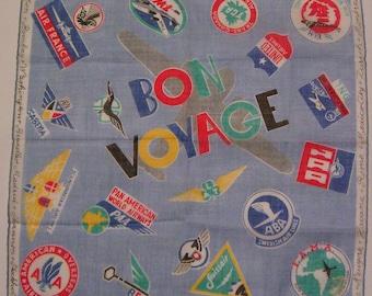 VIntage Bon Voyage Blue Airlines Hankie