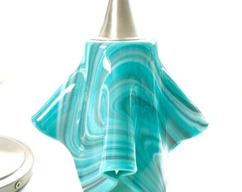 Teal Gray and White Art Glass Hanging Pendant Light by Uneek Glass Fusions - Modern fused glass kitchen island lighting for all decor