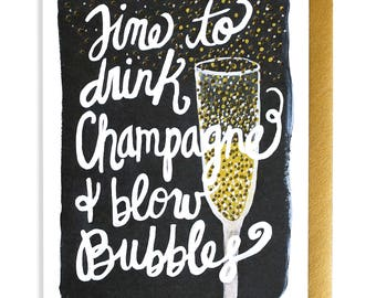 Champagne + Blow Bubbles Card