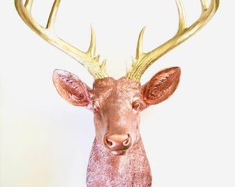 LiTE BRONZE GOLD, XL Faux Taxidermy Deer head wall mount, Deer Head wall hanging, Faux Taxidermy, Stag Head Wall Mount, Faux Deer head, gift