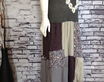 Summer dress, long, bohemian, re-constructed, up-cycled, re-fashioned, handmade, casual and fun, patchwork, sleeveless