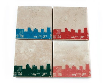 Nashville Skyline Coaster Set (4 Stone Coasters, Orange, Green, Blue, & Red) Cityscape Home Decor
