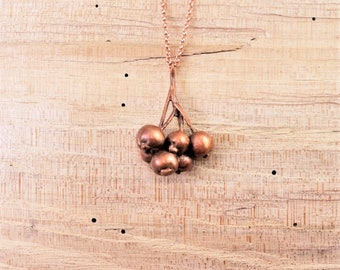 Electroformed Real Berry Copper Necklace P16