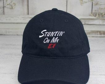Stuntin' On My Ex Cardinal Black Dad Hat Embroidered Baseball Cap Savage Mode