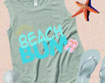 Beach Bum SVG, Ocean, Vacation, Nautical Summer SVG, EPS, Dxf, Png, Cricut, Silhouette Cut file instant download iron on design