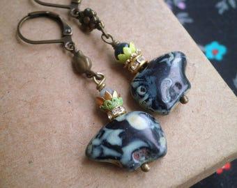 Glass Swirl Zuni Bear Beaded Dangle Earrings - Black Bear Animal Bead Bohemian Dangles  - Boho Mixed Metal Assemblage Jewelry Gift For Her