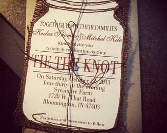 Mason Jar Wedding Invitation Set, Rustic Wedding Invitation, Burlap Wedding invitation, Chic Wedding Invitation  75 count
