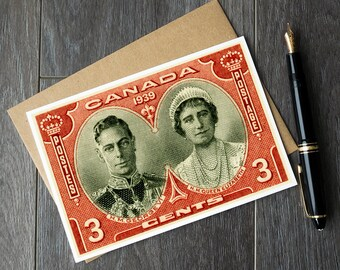 King George VI portrait, Queen Elizabeth portrait, Queen Elizabeth birthday card, Canada royal visit art, princess party invitations, card
