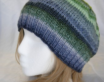 Navy Blue Bottle Green striped beanie merino stripes hand knit hand dyed yarn hat colorful awesome