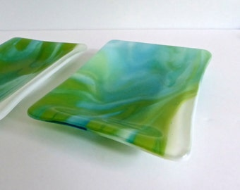 Fused Glass Dish in Streaky Blue and Green by BPRDesigns