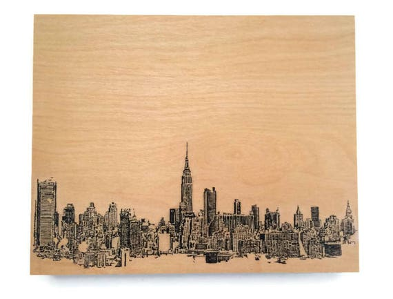 New York Skyline Art on Wood Wall Decor New York Art On Wood