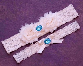 Ivory garter set, Wedding Garter Set, Bridal Garter Set, Something blue, Crystal Garter, rhinestone Garter, toss garter
