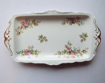 Royal Albert Moss Rose Vintage Sandwich Plate, Rectangular Cake Plate or Serving Platter, With Pink Roses. Great For An Afternoon Tea Party