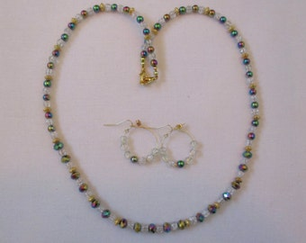 Jewel-tone, crystal & gold beaded necklace with matching pierced earrings - # 392