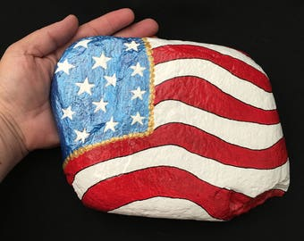 Large Patriotic American Flag Hand Painted Rock-  Labor Day, Memorial Day, Veterans Day, 4th of July