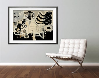 Extra Large Wall Art, Abstract Art Print, Modern Abstract Art, Black and White Wall Art