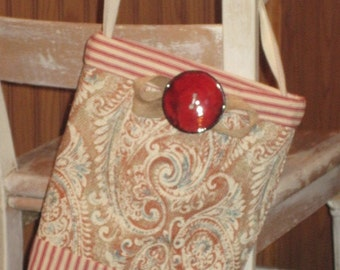 Burlap Bag, Burlap Handbag, Burlap and Ticking Purse