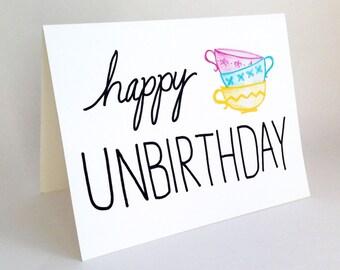 Funny Belated Birthday Card // Happy Unbirthday Card // Alice in Wonderland Card // Hello Card // Teacups // Whimsical Birthday