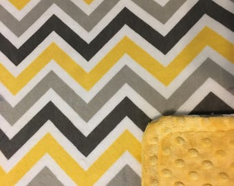 Minky Blanket Yellow, Grey, and White Chevron Minky with Yellow Dimple Dot Minky Backing - Perfect Size a Toddler or Child
