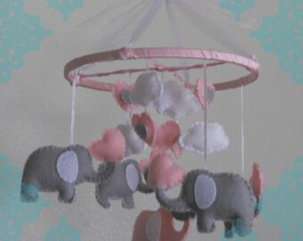 Pink Felt Elephant Mobile- Pink, Grey, White Felt Elephant Baby Mobile. Elephant Nursery Mobile. Elephant Crib Mobile. Elephant Baby Decor