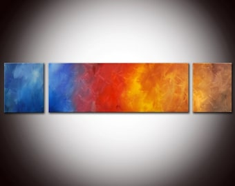 Large Abstract Colorful Rainbow Original Painting 36x12 - Made to Order Painting - Three panels Colorful Abstract - Red Blue Yellow Orange