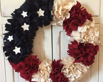 Patriotic Wreath - Rag Wreath - Fabric Wreath - Patriotic Wreath - Stars and Stripes - Red White and Blue - Country - Housewarming Gift