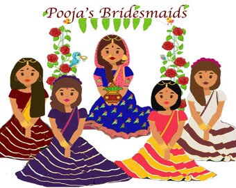 Indian bridesmaid invitation postcard