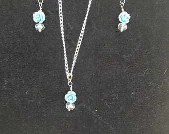Blue Rose Necklace and Earrings Set