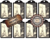 "Paris Chalkboard Hang Tags Printable ~ Black White Gift or Price Tags, Jewelry Cards ~ 8.5X11"" Digital JPG File ~ Eiffel Tower Antique Phone"
