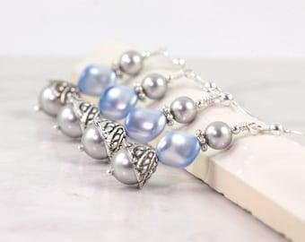 Baby Blue Pearl Earrings Bridesmaid Earrings Something Blue Gray Bridal Earrings Wedding Jewelry Bridal Jewelry Wedding Fashion Light Blue