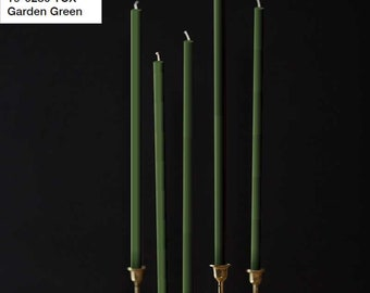 Beeswax Candles 4pcs set - PANTONE 19-0230 TCX - Garden Green - Antique Moss - Straight Taper Wax Candles Natural Color 100% Beeswax Organic