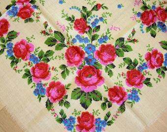 Vintage woolen shawl Woolen scarf with floral pattern #73