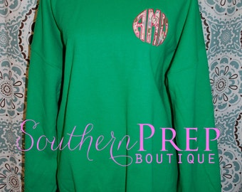 Monogrammed Applique Crew Neck Sweatshirt - All Colors available