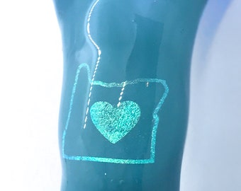 Blown Glass Oregon Love Heart Logo Dichro Image Tobacco Pipe Pyrex Solid Teal Purple CUSTOM AVAILABLE
