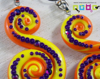 Octopus Tentacle Inspired Dangle / Chandelier Earrings - Sun Burst