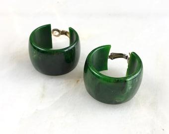 Vintage Green Marble Swirl Bakelite Hoops