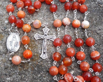 Sterling Silver Orange Crab Fire Agate Rosary - handmade - Free Shipping- On Sale