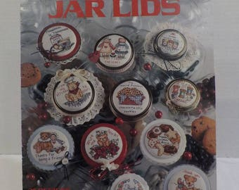 Just A little something Jar Lids Counted Cross Stitch Pattern-Lots of Small Pretty Patterns- by Leisure Arts 25 Patterns