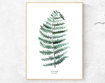 Watercolor Leaf, Fern Print, Watercolor Print, Botanical Print, Wall Decor, Minimal Wall Art, Watercolor Art, Plant Illustration, Fern Leaf