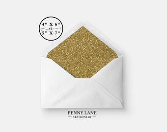 Gold Glitter Envelope Liner, Gold Glitter Envelope insert, 4 x 6, 5 x 7, Glitter Party Decorations, Gold Birthday Decorations, Spa Party