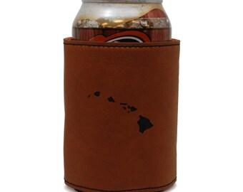 Hawaii Leather Can Sleeve, Beer Sleeve, Beer Cooler, Beer Hugger